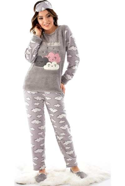 Pijamoni 4120 Uzun Kollu Desenli Göz Bantlı Patikli Polar Kadın Pijama Takımı