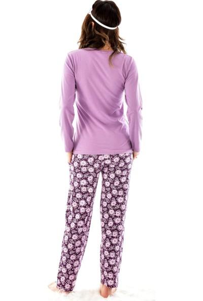 Pijamoni 4600 Uzun Kollu Desenli Göz Bantlı Kadın Pijama Takımı