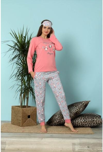 Pijamoni 4610 Uzun Kol Göz Bantlı Kadın Pijama Takımı