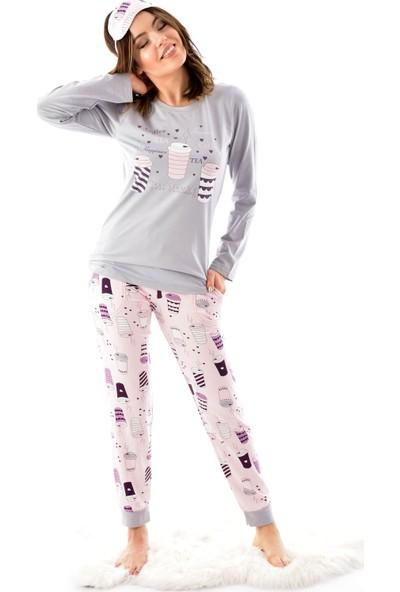 Pijamoni 4610 Uzun Kollu Desenli Göz Bantlı Kadın Pijama Takımı