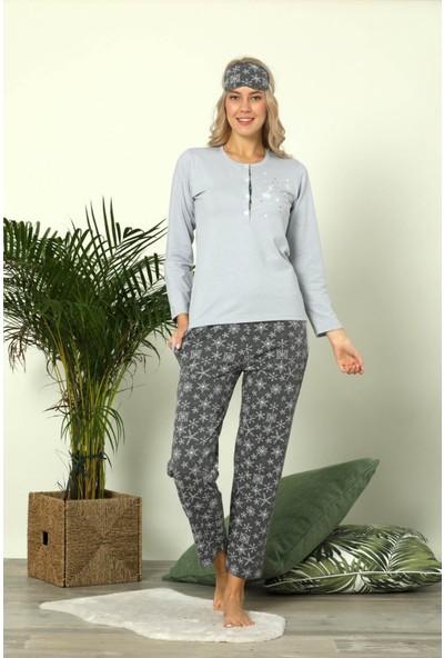 Pijamoni 4620 Uzun Kol Göz Bantlı Kadın Pijama Takımı