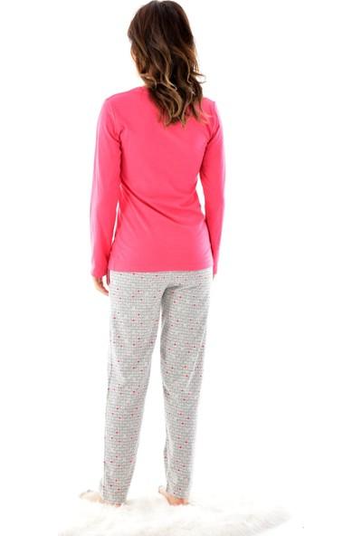Pijamoni 4620 Uzun Kollu Desenli Göz Bantlı Kadın Pijama Takımı