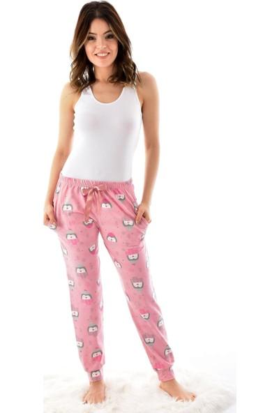 Pijamoni Kadın Desenli Cepli Pijama Altı