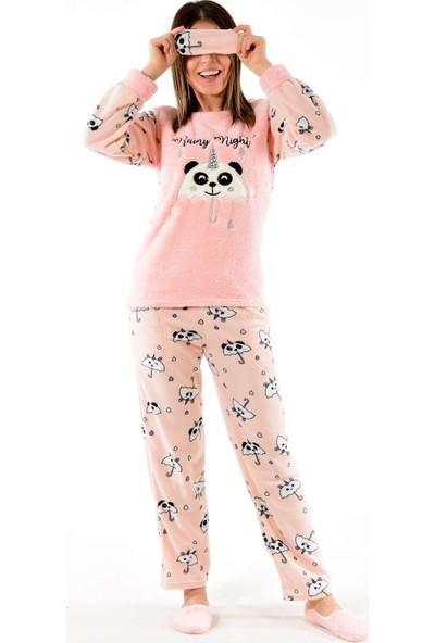 Pijamoni Kadın Göz Bantlı Patikli Welsoft Polar Pijama Takımı