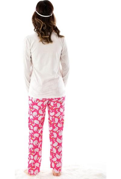 Pijamoni Stil Uzun Kol 4 Mevsim Göz Bantlı Kadın Pijama Takımı