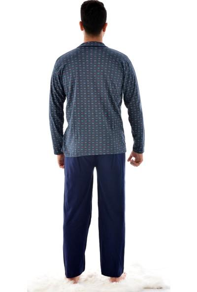 Rimoli Erkek Uzun Kol Boy Düğmeli Süprem Pijama Takımı