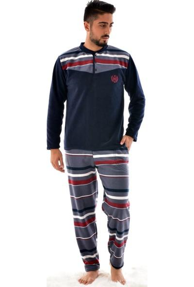 Pijaman Erkek Polar Pijama Takımı Lacivert