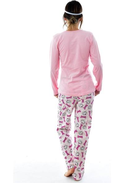 Ldn Lds Kadın Göz Bantlı Desenli Pijama Takımı