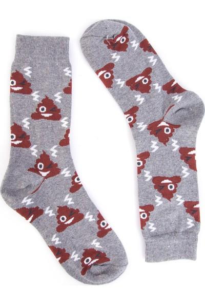 Nilumoda Gri Emoji Desenli Renkli Soket Çorap