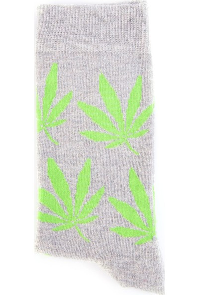 Nilumoda Gri Marijuana Desenli Renkli Soket Çorap