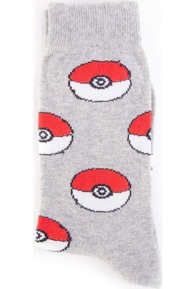 Nilumoda Gri Pokemon Desenli Renkli Soket Çorap