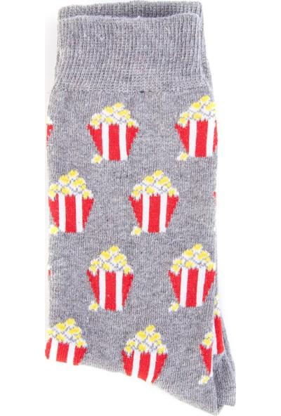 Nilumoda Gri Popcorn Desenli Renkli Soket Çorap