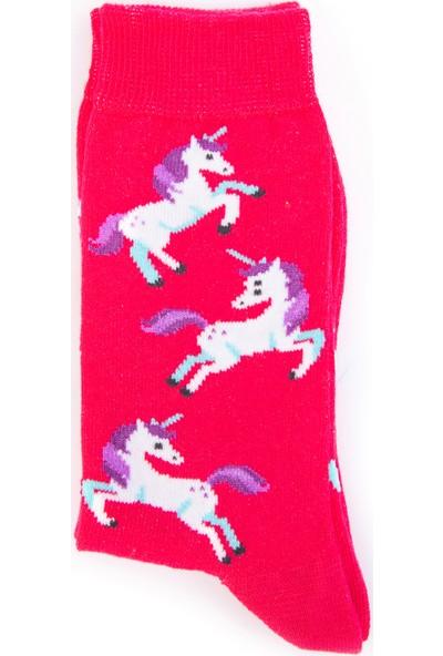 Nilumoda Pembe Unicorn Desenli Renkli Soket Çorap