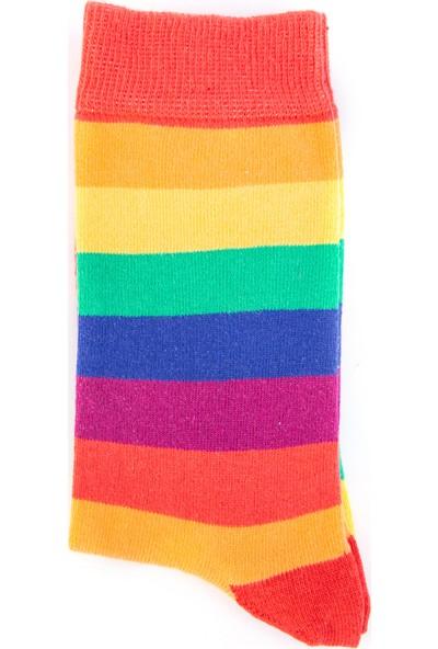 Nilumoda Rengarenk Çizgili Soket Çorap