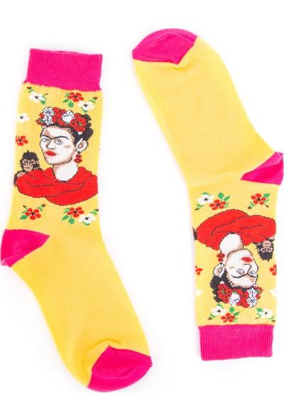 Nilumoda Sarı Frida Desenli Renkli Soket Çorap
