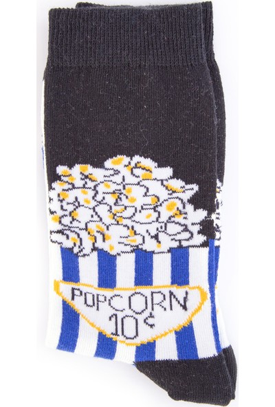 Nilumoda Siyah Popcorn Desenli Renkli Soket Çorap