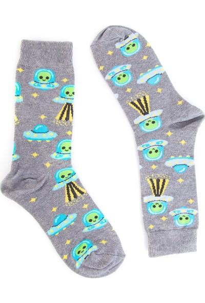 Nilumoda Gri Uzaylı Desenli Renkli Soket Çorap