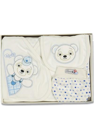 Liakids Bebe 5'li Şapkalı Ayı Zıbın Set Mavi