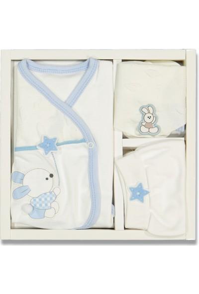 Liakids Bebe 5'li Tavşan Nakışlı Zıbın Set Açık Mavi