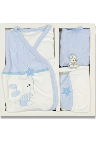 Liakids Bebe 5'li Tavşan Nakışlı Zıbın Set Mavi