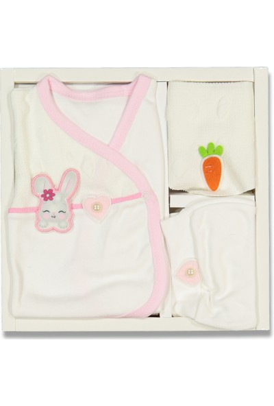 Liakids Bebe 5'li Havuçlu Tavşan Zıbın Set Beyaz