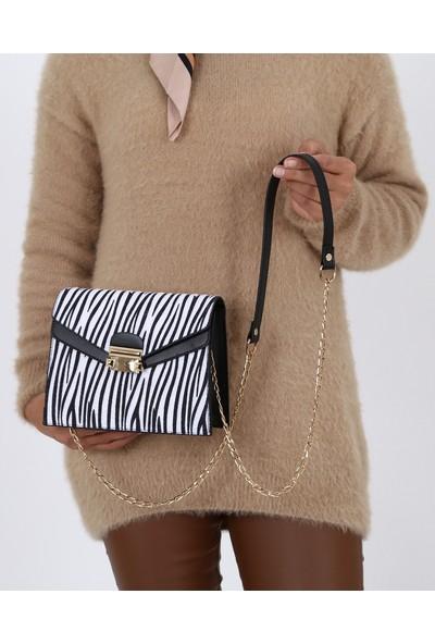 Çanta Sanatı Julia Kadın El Ve Omuz Çantası Siyah Zebra Fa054