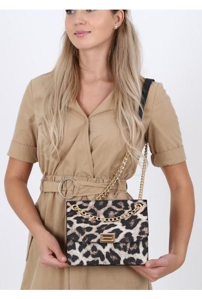 Çanta Sanatı Violet Kadın El Ve Omuz Çantası Leopar Yv033