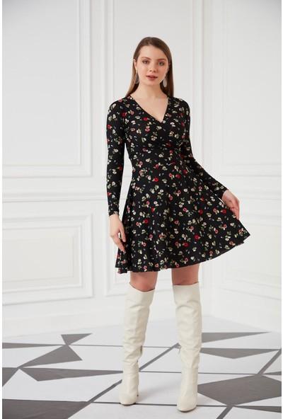 Morpile V Yaka Kruvaze Elbise