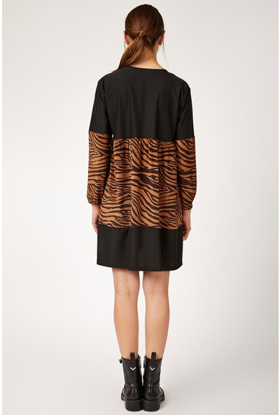 Bigdart 1724 Desenli Kadife Elbise