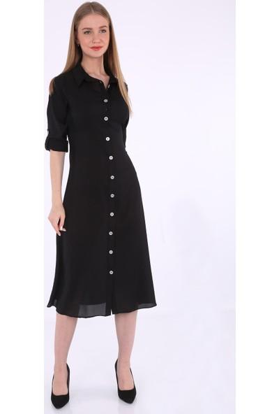 Bigdart 1740 Kuşaklı Gömlek Elbise