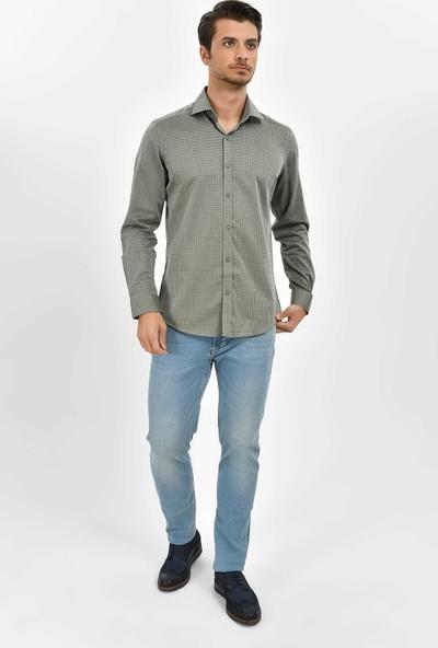 Hatemoğlu Erkek Yeşil Desenli Slim Fit Gömlek
