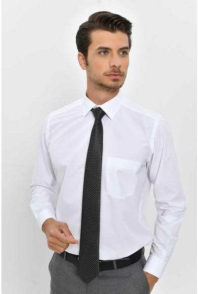 Hatemoğlu Erkek Beyaz Desenli Klasik Gömlek