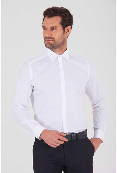 Hatemoğlu Erkek Beyaz 1 Desenli Slim Fit Gömlek