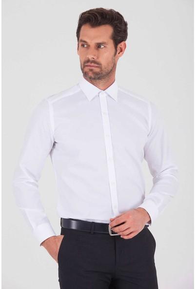 Hatemoğlu Erkek Beyaz Desenli Slim Fit Gömlek
