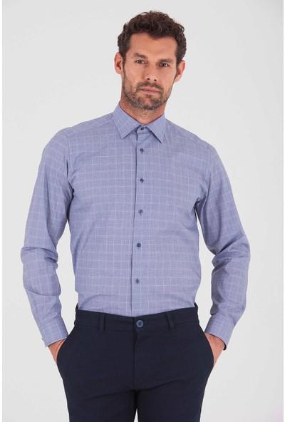 Hatemoğlu Erkek Lacivert 1 Kareli Regular Gömlek