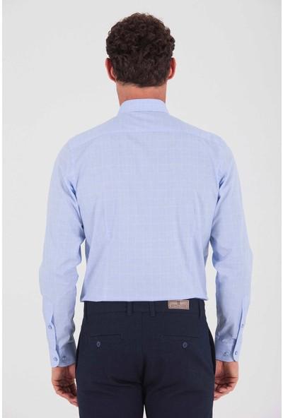 Hatemoğlu Erkek Mavi Kareli Regular Gömlek