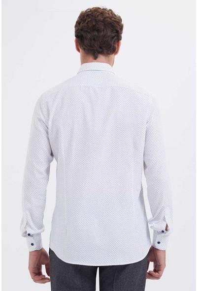 Hatemoğlu Erkek Beyaz Baskılı Regular Gömlek