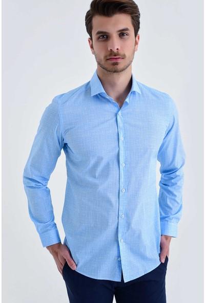 Hatemoğlu Erkek Mavi Baskılı Slim Fit Gömlek