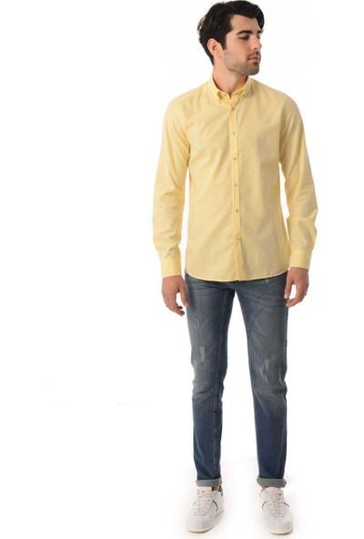 Hatemoğlu Erkek Sarı Slim Fit Gömlek