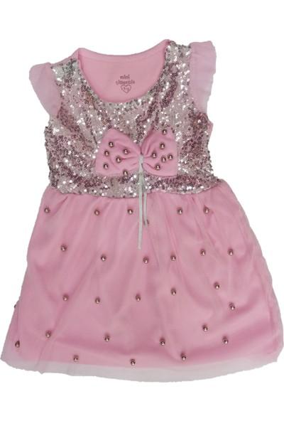 Mini Çitlenbik Pullu Boncuklu Kız Çocuk Elbise Pembe 5 Yaş