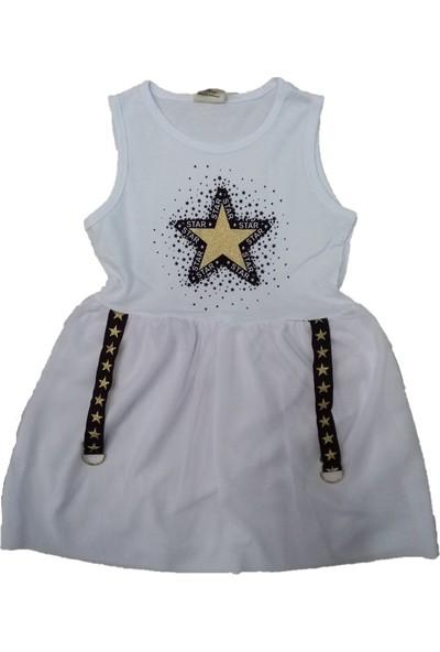Mini Çitlenbik Yıldız Desenli Kız Çocuk Elbise Beyaz 2 Yaş
