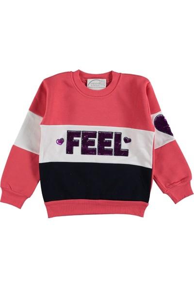 Remi Kids Önü Pullu Kolu Kalpli Kız Çocuk Sweatshirt