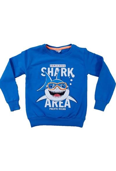 Wkc Kids Erkek Çocuk Dar Kalıp Köpek Balığı Desenli Sweatshirt