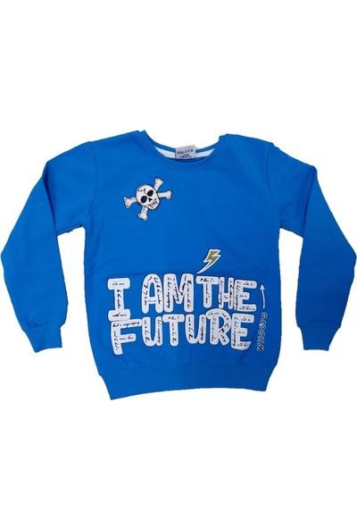 Wkc Kids Erkek Çocuk Dar Kalıp Kuru Kafa Desenli Yazılı Sweatshirt