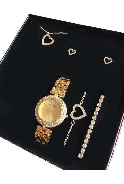 Forentina Kadın Kalpli Kolye Küpe Bileklik Saat Set Ps0520