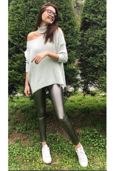 Mojerhermosa Yeşil Peluş Deri Tayt 38