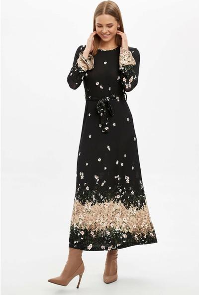 DeFacto Desenli Uzun Kollu Örme Elbise N9145AZ19CW