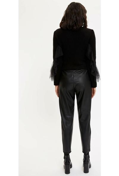 DeFacto Deri Görünümlü Havuç Pantolon