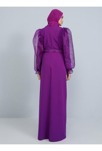 Tavin Karpuz Kollu Abiye Elbise - Mor