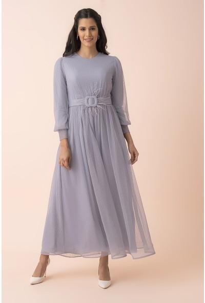 Arda New Line Kadın Gri Tesettür Abiye Elbise 3562042.06